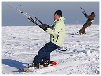Snowkiting na Lipně